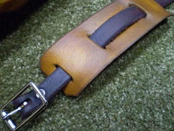 2 Tone Range Tan Leather Cuff Bracelet with Nickel Buckle Closure