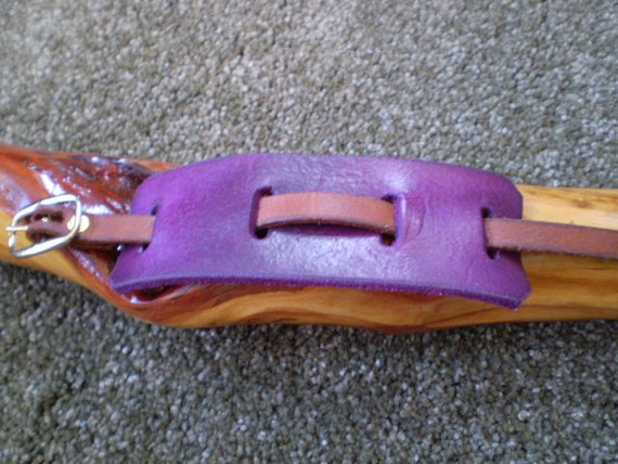 Violet 2 Tone Leather Cuff Bracelet with Brass Buckle Closure
