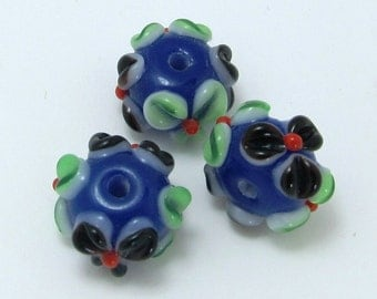 Blue with Black and Green Flowers - Set of 3 Rondelle Lampwork Beads
