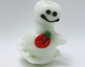 Smiley the Ghost  Lampwork Bead