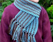 Crocheted Dusty Blue Scarf - Ready to Ship