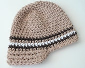 Boys Brimmed Cap - Taupe, Brown, White