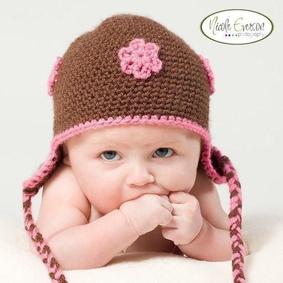 Chocolate Brown Baby Earflap Hat
