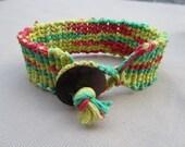 Rasta Hemp Macrame Bracelet - Natural Bohemian Hippie