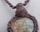 Wrapped Picture Jasper and Hemp Macrame Necklace - Natural Bohemian