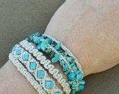 Macrame Turquoise Hemp Bracelet - Knotted Bohemian Natural