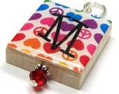 Peace Love Rainbow . . . a Scrabble Tile INITIAL Pendant