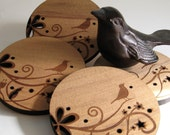 Wood Drink Coasters - Bird on a Branch set of 4