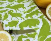 Kitchen Towel - 50 State Animals - Bright Green