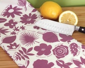 Kitchen Towel - 50 State Trees & Flowers - Purple - botanical illustrated tea towel - peppersprouts