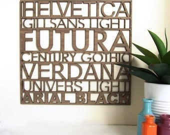 Typography wall art, Helvetica wall art Helvetica Sans Serif Typography Wood Wall Art, gifts for graphic designers