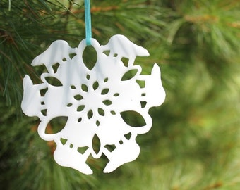 Polar bear Tree Ornament - Polar Bear Snowflake, laser cut animal snowflakes, rustic christmas, woodland christmas, tree decoration