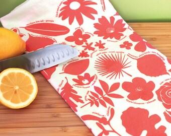 Kitchen Towel - 50 State Trees & Flowers - Coral botanical tea towel