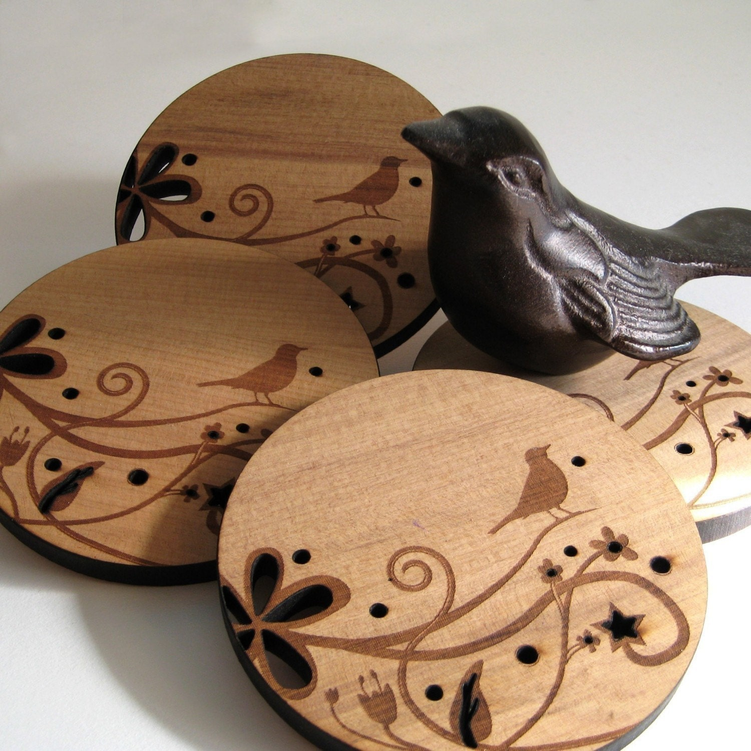 wood drink coasters bird on a branch set of 4