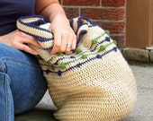 Blue and Green Puff Stitch Crochet Tote Bag