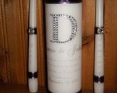 Personalized Unity Candle Set rhinestone initial and live to one hundred verse