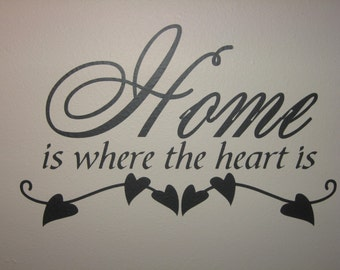 Home is where the heart is wall vinyl quote