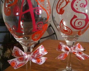 Paisley Design and letters for wine glasses vinyl decals DIY