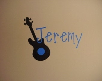 Guitar with Name wall vinyl decal