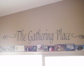 The Gathering Place wall vinyl decal with swirls