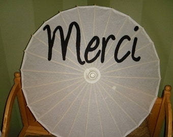 Merci handpainted parasol for Wedding Photos