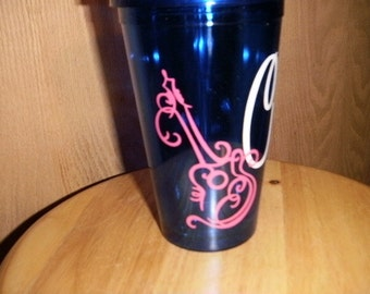 personalized Tumbler with guitar