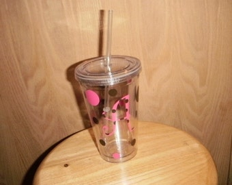 Polka Dot Personalized Tumbler Two Toned Colors