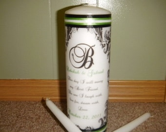 Damask Wedding Unity Candle Set with Verse and Gems