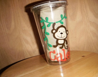 personalized Tumbler with Monkey hanging from vines