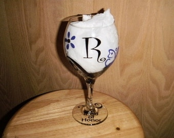 Butterfly, Flowers and Swirls Personalized wine glass