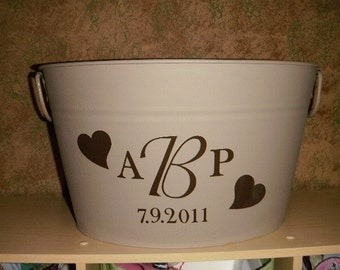 Large Metal Bucket personalized with Hearts