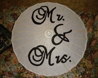 Mr and Mrs handpainted parasol great for wedding pictures