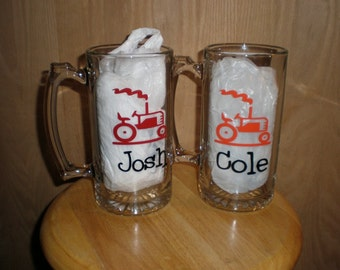 Tractor Personalized Beer Mug