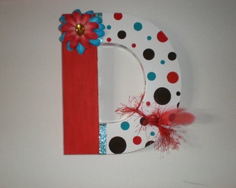 Embellished Initial for Child's Room with lots of polka dots