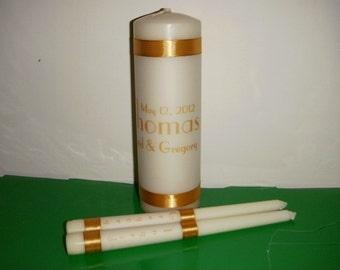 Art Deco Theme Personalized Wedding Unity Candle set