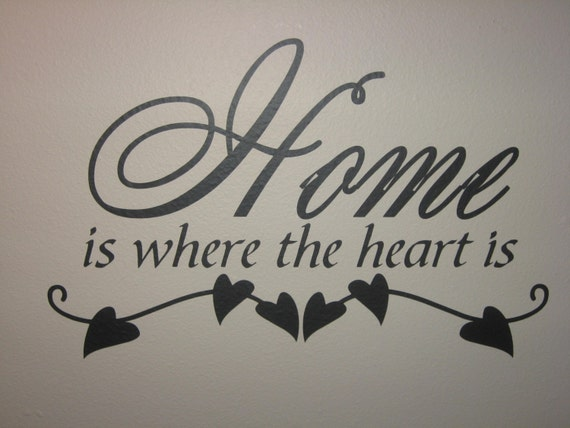 home is where the heart is wall vinyl quote. Black Bedroom Furniture Sets. Home Design Ideas
