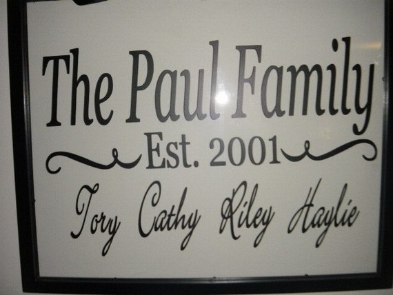 Family Name and Established Date Wall Vinyl Decal