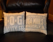 2 Vintage Grain Sack Pillow