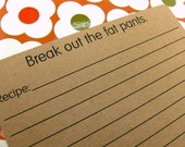 Funny recipe cards set of 20 - Break out the fat pants