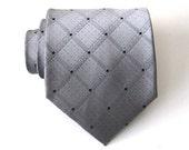Gray Plaid Silk Tie
