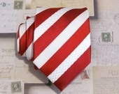 Mens Necktie Red and White Stripe Silk Tie