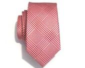 Necktie Mens Tie Red and White Plaid Skinny Silk Tie
