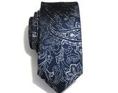 Necktie for Men Navy Blue Paisley Skinny Silk Tie