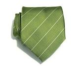 Mens Necktie Kiwi Green Striped Silk Tie