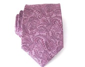 Necktie Lavender and Purple Paisley Silk Mens Tie