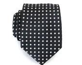 Mens Ties Necktie Black and White Dot Silk Tie