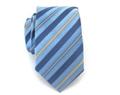 On Sale - Necktie Blue and Tan Striped Skinny Tie