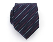 Tie Dark Blue White and Red Striped Silk Necktie