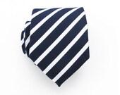 Mens Tie - Navy Blue and White Striped Silk Necktie
