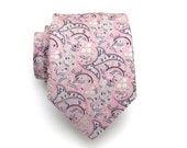 Mens Tie - Pale Pink and Gray Paisley Silk Necktie